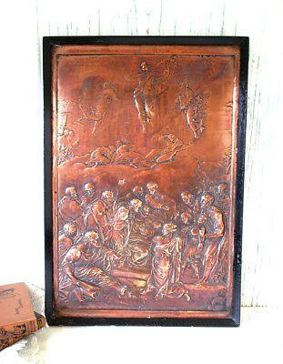 Victorian copper relief plaque by John Henning 1836, copper panel after Raphael