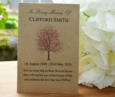 50 Funeral Favours Personalised Seed Packets | Memorial Sympathy gift (no seeds)