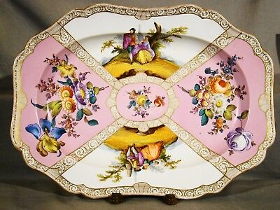 Antique Meissen Hand Painted Rococo Revival Platter Meat Dish 1852-1860