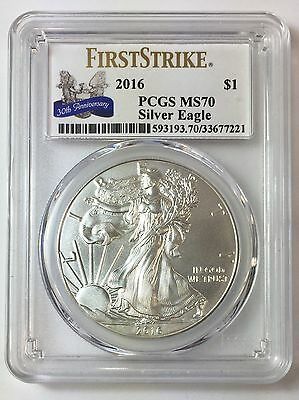 2016 1oz Silver Eagle 30th Anniversary Label PCGS MS70 First Strike $1 .999 Coin