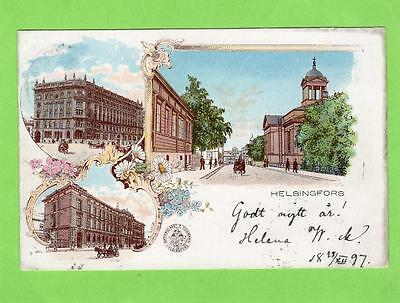 Early Gruss Aus Helsingfors Helsinki Finland Suomi pc used 1897 to Wien Vienna