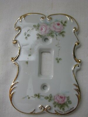 Mary Rutledge Decorative Porcelain Gold Trim Floral Light Switch Plate/Cover
