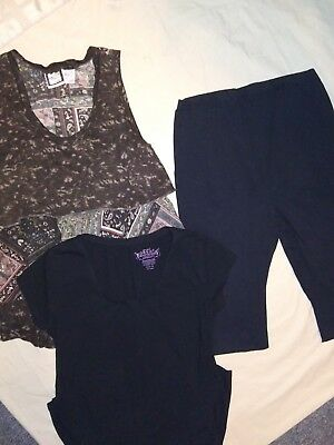 Lot of 3 Maternity Clothes leggings shirt dress sizes M-L Black and Multi.Color