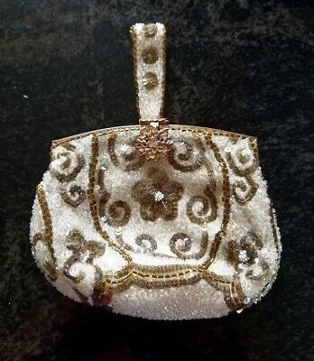 Antique Vintage Beaded Purse Gold & White Floral Motif, Made in France