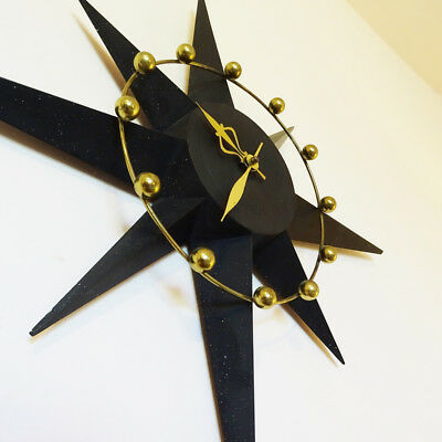 Mid Century Starburst Wall Clock with Atomic Particle Gold Design 1950's