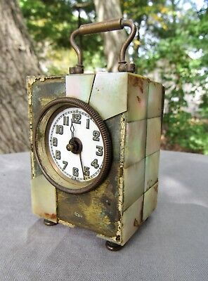 Antique Miniature German Carriage Alarm Clock Mother of Pearl ~ Parts or Restore