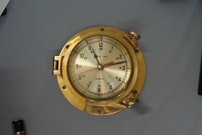 Vintage Solid Brass Ship's Time Quartz Clock Porthole Style For Beach Boat House