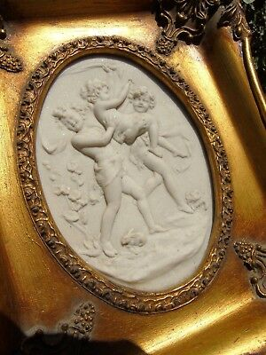 Faux Marble Plaque Relief Carved Cherub , Girl