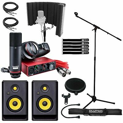 Focusrite Scarlett Studio 2i2 2nd Gen w/ KRK RP5G4 Home Studio Recording Package