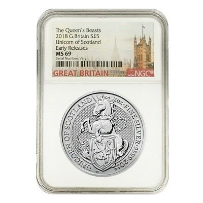2018 Great Britain 2 oz Silver Queen's Beasts (Unicorn of Scotland) NGC MS 69 ER