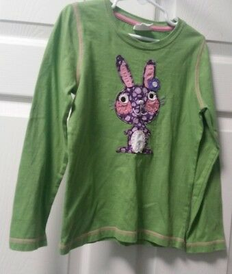 MINI BODEN Girls size 5 6 years green long sleeve shirt with purple bunny