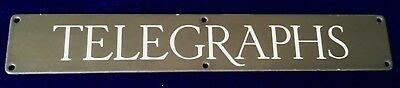 Very Rare Find Original Antique Brown & White Enamel Sign TELEGRAPHS C1925