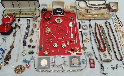 Fab Lot Of Solid Silver & Vintage Costume Jewellery ,spoon,watches, Boxes,coins,