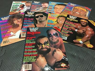 Lot of 9 WWF Magazines - 1988 Back Issues Vintage Hulk, Hart, Andre, Snake, ext