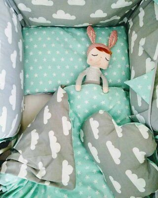 Duvet cover and pillowcase 100% pure cotton, Hand Made Bedding for baby cot
