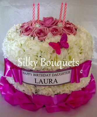 Artificial Silk Flower Birthday Cake Memorial Wreath Anniversary Funeral Tribute