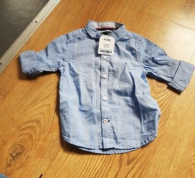 New Next boys blue checked shirt age 9-12 months