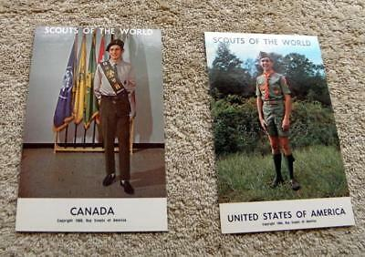 """Vintage Boy Scout - Lot Of Two (2) """"scouts Of The World"""" Postcards"""