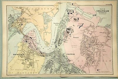 1895 Map Plan Of Chatham Rochester Parish Piers Royal Dock Yard Barracks Prison