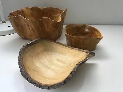 Arty wood display bowls x 3 - great condition - - - be quick