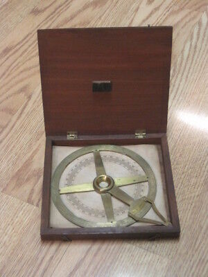 Unique Antique Spencer Browning & Rust Brass Navigation Sextant with Wood Case