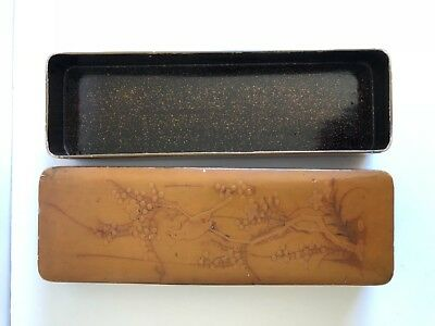 Vintage Japanese Lacquer Lidded Scroll Box Perching Bird Light Brown