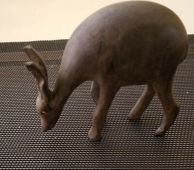 Handcarved Wood Antelope Art Sculpture Animal Figurine