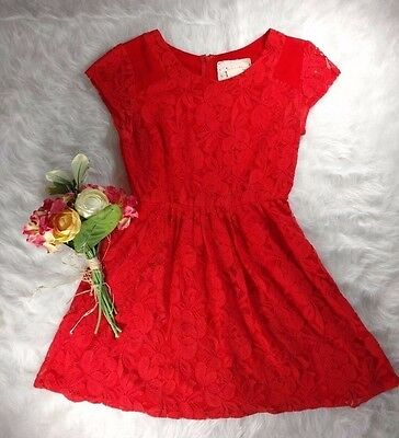 ANTHROPOLOGIE Coincidence & Chance Coral Lace Overlay Skater Dress S Flare