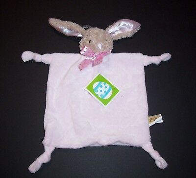 NEW Dandee Pink Tan Bunny Baby Blanket Knotted Corners Rattle Security Lovey