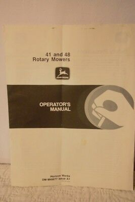JD John Deere 41 and 48 Rotary Mowers Operator's Manual OM-M49677-A1 $4.95 SHIP
