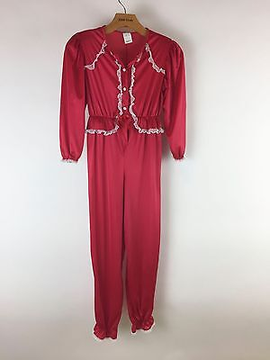 Vintage 1970s Girls Red Pajamas One Piece White Lace