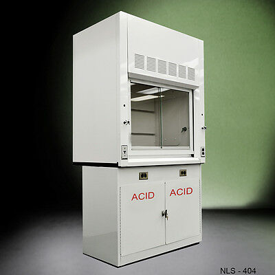4' Laboratory Chemical  Fume Hood w/ Epoxy Top and acid Cabinet new-.