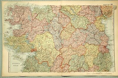 1895 Map Central Ireland Meath Queens County Galway Mayo Roscommon Longford