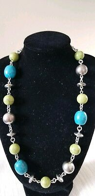 Vintage/ Modern Silver Tone M&S Necklace With Blue And Green Beads Marble Detail