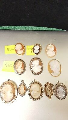 Vintage Lot ofBeautiful Shell Cameos  BROOCHES NECKLACE 18k, 14k Gold Fil & 925