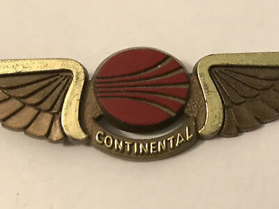 Continental Airlines Plastic Wings Lapel Pin Vintage Original