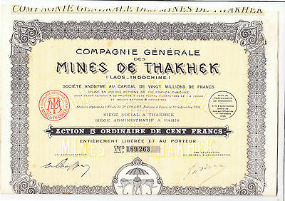 Mines de Thakhek, Paris 1928 - Indochina Laos -