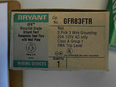 Bryant Gfr83Ftr Hospital Grade Ground Fault Receptacle 20 Amp 125 Volt
