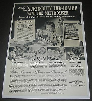 Print Ad 1937 REFRIGERATOR Frigidaire APPLIANCE Super-Duty with Meter-Miser