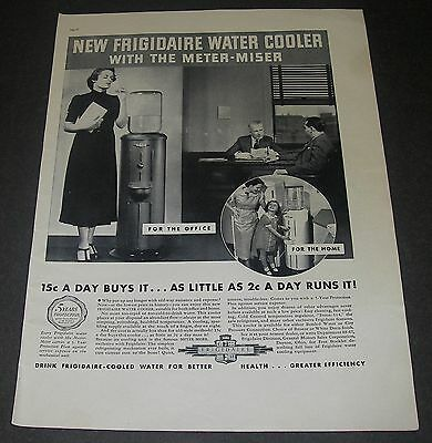 Print Ad 1937 APPLIANCE Frigidaire Water Cooler Meter-Miser Office/Home Magazine