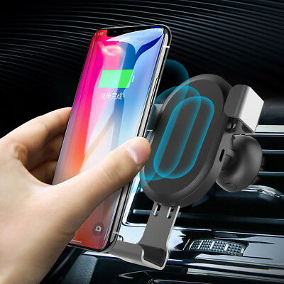 Qi Car Wireless Charger Charging Dock Phone Holder For Samsung Galaxy S9 S8 S7