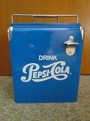 Vintage Style Retro Blue Metal Pepsi Cola Cooler with Bottle opener! Rare!