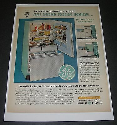 Print Ad 1962 REFRIGERATOR General Electric Spacemaker turquoise aqua APPLIANCE.