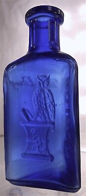 The Owl Drug Antique Triangular Cobalt Blue Poison Bottle. 3-7/16""