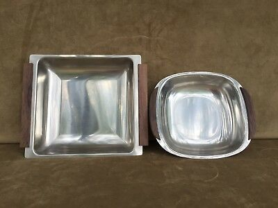 Lundtofte Denmark Mid Century Stainless Serving Tray Lot of 2
