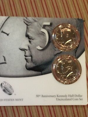 2014 P & D Kennedy 50th Anniversary High Relief 2 Coin Clad Set (K14)