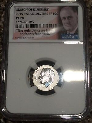 2015 P Silver Reverse Proof Dime 10c NGC PF 70 From March Of Dimes Set