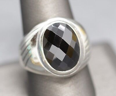 Vintage Faceted Hematite Sterling Silver Signet Style Domed Ring