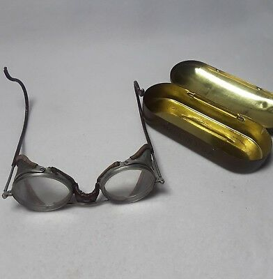Antique Willson Safety Eye Glasses Goggles Mesh Sides w/ Storage Tin 1930s
