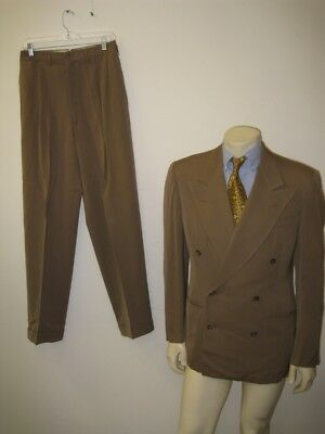 Vintage 1940s Tan Wool Double Breasted Gangster Suit Size 38